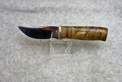 Vintage Hand Made Hunting Knife W/ Curly Maple Handle, Never Used / Signed E. W.