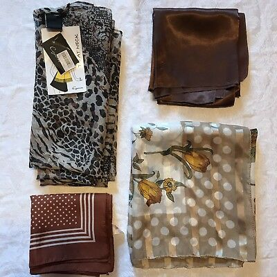 4 Vintage Scarves Brown Copper Cejon Animal Print Polka Dot Scarf Lot