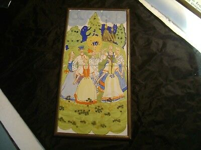 vintage Russian ? Poland? Art  Hand Painted Tile  Ceramic Wall Hanging