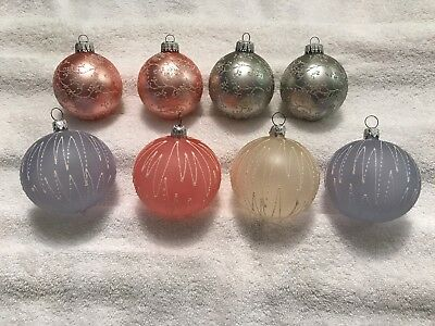 Lot of 8 Vintage W Germany Glass Ornaments Ball Mica Pastels Silver