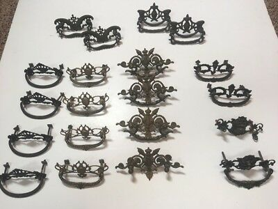 Antique LOT Ornate Victorian, Eastlake, Nouveau Brass Furniture Drawer pulls
