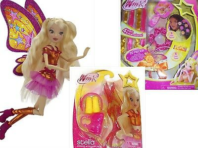 LOT of 3 Winx Club Stella Believix Doll Hair Styling Set Dress Up 20 pieces &