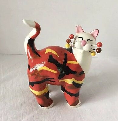 2003 Annaco Creations LACOMBE #21069 Camouflage Cat~Orange, Yellow, Black, Brown