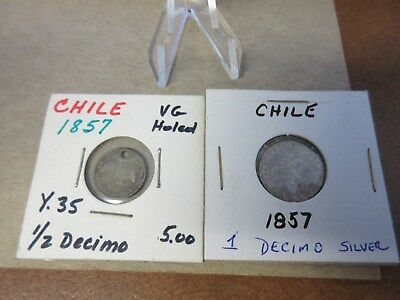 (2) Coin lot Chile 1857 1/2 Decimo (holed) & 1857 1 Decimo Silver Lot #2