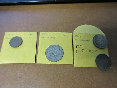 (4) Coin Lot  Chile 40 & 50 Centavos Lot #7