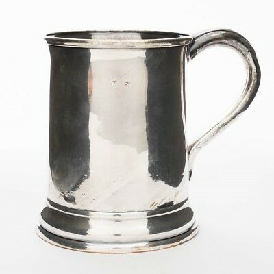 "Antique Silverplate 1-Pint Tankard Beer Mug with Handle Silver Plated 5"" T"