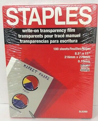 "Staples SL5260 Write On Transparency Film 100 Sheets - 8.5"" X 11"""