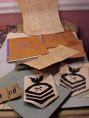 Original Wwii Usn Cb Seabee Lot - Logs / Patches / Papers Etc