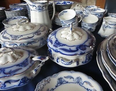 FLOW BLUE SET Grindley Lotus ; 100 pieces+ VERY NICE CONDITION - Free shipping