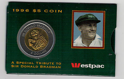 1996 $5 RAM Coin (A Special Tribute to Sir Donald Bradman) UNC - Westpac Cover