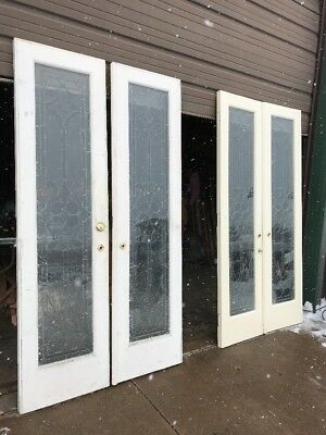 An 440 2 Pair Sold Separate Antique Beveled Textured French Doors 45.5 X 86.5