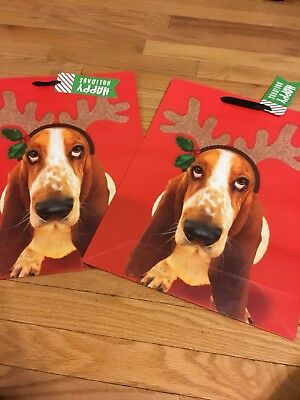 Basset Hound Large 2 Christmas Gift Bags Great Deal!
