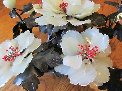 Glass Floral Asin Peking Mid-Century Antique Vintage 12 X 12 Two piece #L1