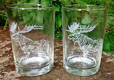 "Moose Lodge Membership Award Glass Tumbler Pair 4.5""H Clear Etched Fraternal"
