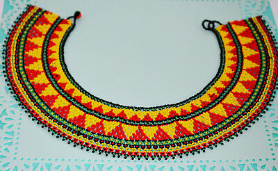 "VTG Wide Collar Ethnic Africa Tribal 24"" L Seed Beaded Beads Bib Choker Necklace"