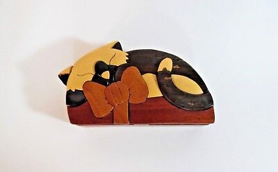 Wooden Cat Puzzle Trinket Box, Hidden Secret Box Inside, Handmade Exotic Wood