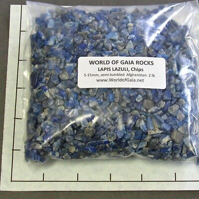 LAPIS LAZULI Chips Afghanistan 5-15mm 2 lb bulk stones semi-tumbled  SAVE 20%