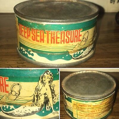 Rare Vintage Tin Can Deep Sea Treasure Cultured Pearl Mermaid Oyster Advertising