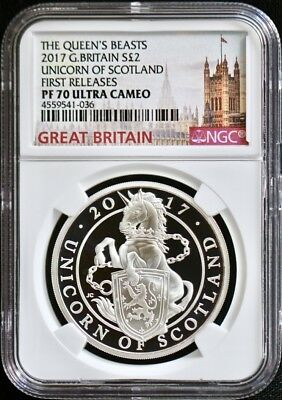 2017 Great Britain Queen's Beast-Unicorn Of Scotland NGC PF70 First Releases