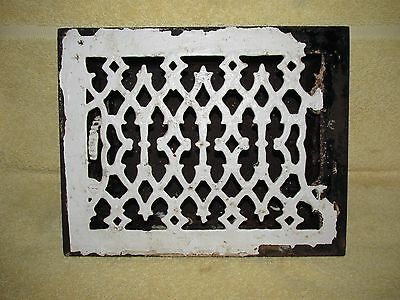 Antique Victorian Style Heat Register Vent Grille w Louvres, 6 X 8, Salvage