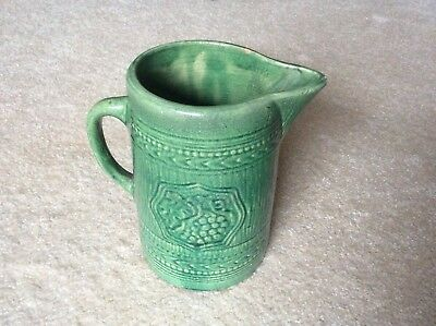 Antique Yellow Ware Pitcher With Green Glaze