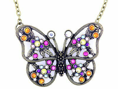 Vintage antique bronze crystal cutout butterfly necklace