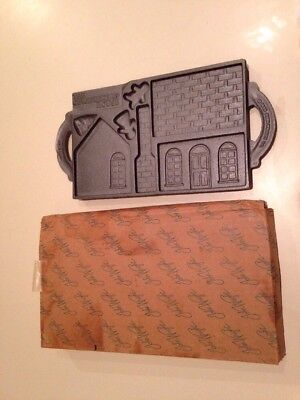 Vintage 1985 Cast Iron The Gingerbread House Baking Pan John Wright Co.