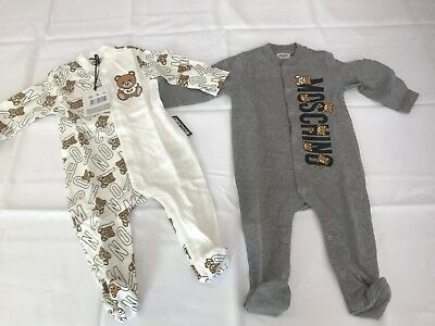 AW17 Moschino Baby Jeremy Scott TEDDY BEAR Boxed Baby Set of TWO OVERALLS