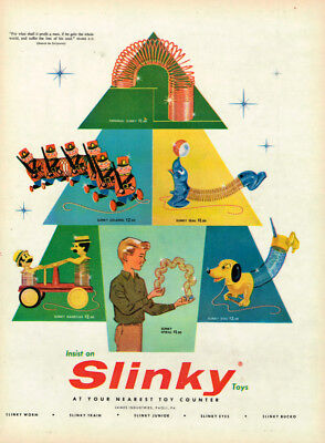 "1960s SLINKY ""CHRISTMAS"" VINTAGE ORIGINAL LAMINATED AD ART"