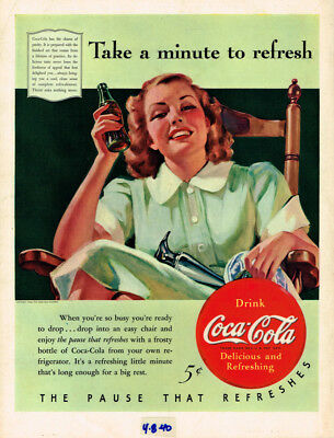 """1940 Coca~Cola """"the Pause That Refreshes"""" Vintage Original Laminated Ad Art"""