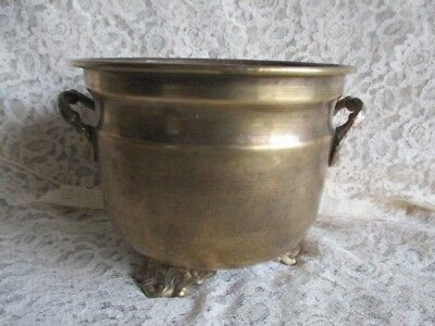 """Vintage Small Three-Footed Round Brass Plant Pot Ornate Feet and Handles 4"""" H"""
