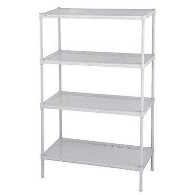 """Muscle Rack 24""""W x 12""""D x 35""""H 4-Level Perforated Wire Shelving, White"""