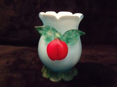 "Rare Art Nouveau Wilhelm Kralik 3"" Applied Cherry Applied Feet Fused Glass Vase"