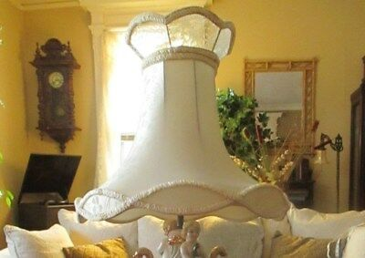 Vintage Antique Victorian Style Lace Ivory Panel Fringed Lampshade Large