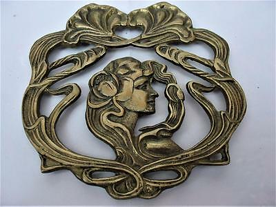 Vintage Rare Art Deco / Nouveau Lady Flowing Hair Lily Flower Trivet Solid Brass
