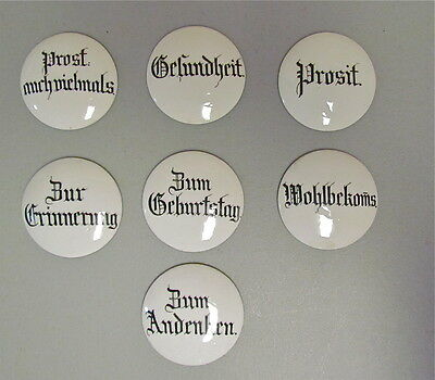 7 Antique German Porcelain Lid Inserts Unused New Old Stock