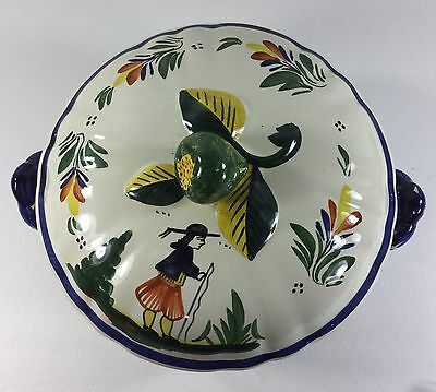 HB QUIMPER France Hand Painted 2 Handled Bowl w/ Lid With Fruit Handle