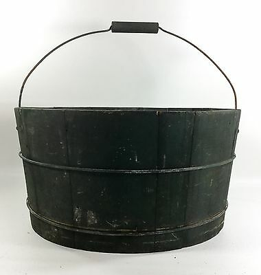Antique Swing Handle Tub In Old / Bucket Green Paint 1800s Vermont - New England