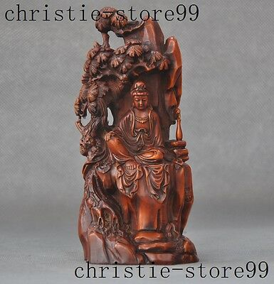 Old Chinese Boxwood wood Head carved Buddhism Pine trees Kwan-Yin Guanyin Statue