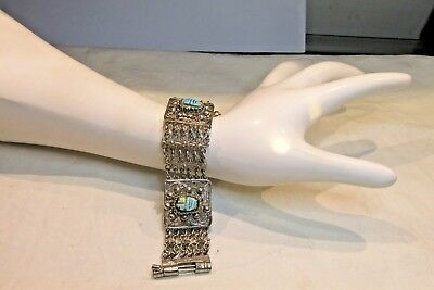 "Vtg Silver Chain Panel Link Bracelet Scarab Carved Turquoise Stones 7.5"" Bold"