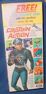 Vintage Ideal Captain Action Parachute Box Complete With Insert Baggies Nice
