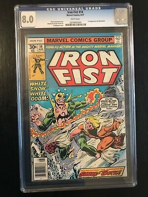1977 Marvel Comics Iron Fist #14 CGC 8.0 *** WHITE PAGES *** 1ST SABRETOOTH ***