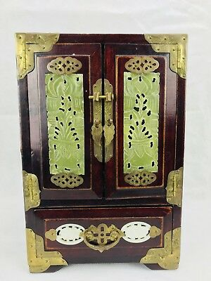 Vintage Shanghai Apothercary Jewelry Asian Wood Brass Jadeite Jade Box