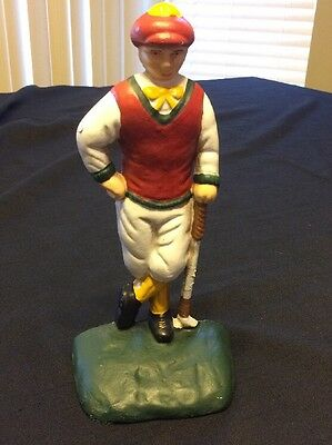 Vintage Cast Iron Victorian Style Golfer Man Doorstop~Bookend
