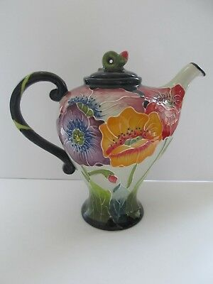 Collectible Blue Sky Hand Painted Poppy Tea Pot