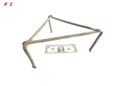 Antique 19th C. Blacksmith Made Wrought Iron Fireplace 3 Legged Spider/ Trivet 2