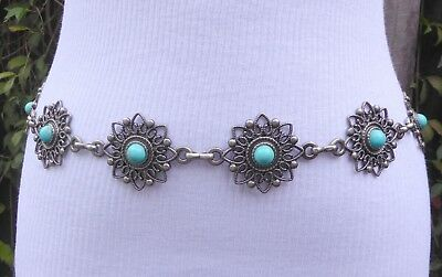 Vtg. faux. Turquoise Silver Tone Metal Open Work Concho Chain Belt