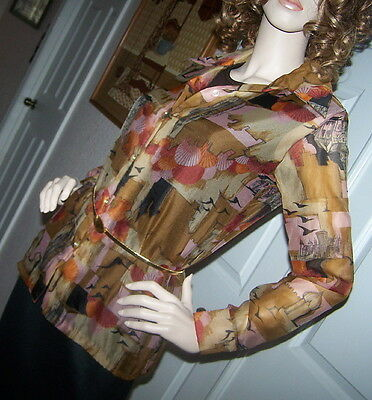 Vintage 70s MOD Retro 2-Pc Blouse/Shirt & Tank Set w Castles & Churches Sz 12~