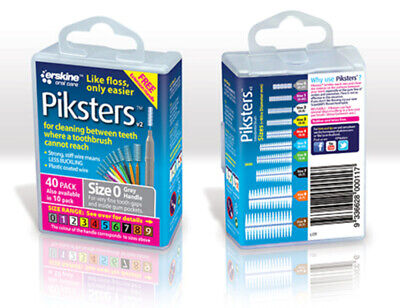 New Piksters Interdental Brush 40 Pack Size 0 Grey Handle Floss Teeth Cleaning