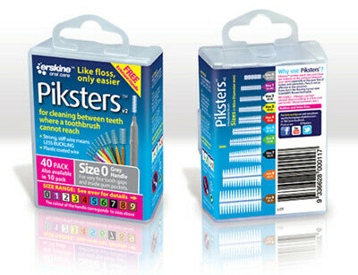 Piksters Interdental Brush 40 Pack Size 0 Grey Handle Floss Teeth Cleaning